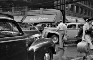 """""""Midstream: Jaywalkers in traffic. Chicago, Illinois July 1941."""" by polkbritton is marked with CC PDM 1.0"""